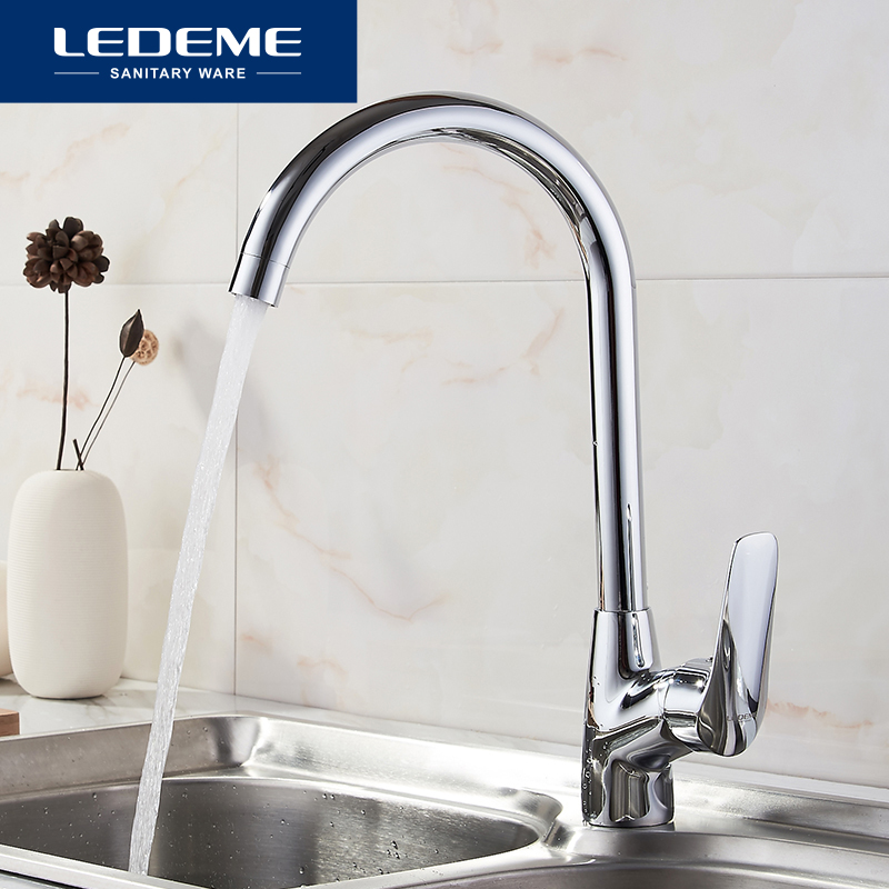 LEDEME Kitchen Faucet Pull Out Spray Rotary Brushed Sink Mixer Tap Single Handle Deck Mounted Hot And Cold Water L4051 nickel brushed pull out kitchen faucet sink mixer tap single handle hole deck mounted hot and cold water