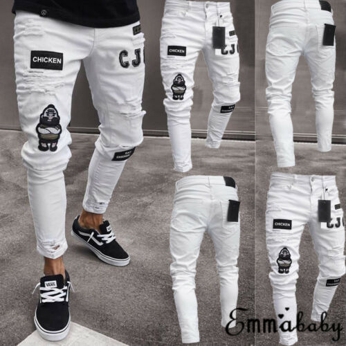 2019 New Fashion Men Vintage Ripped   Jeans   Super Skinny Slim Fit Zipper Denim Pant Destroyed Frayed Trousers Cartoon Gothic Style