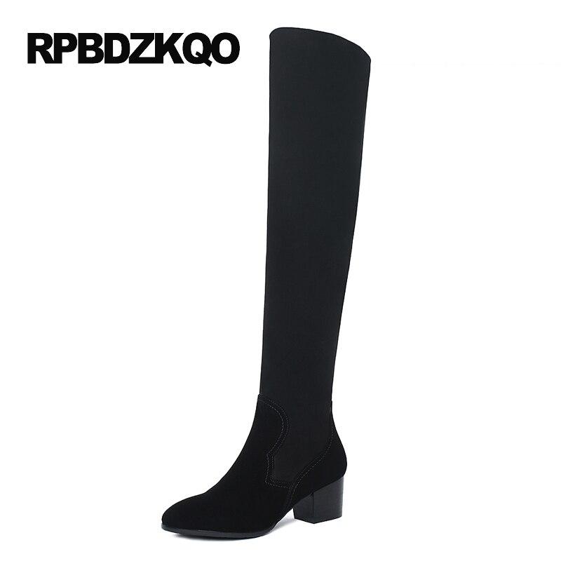 LICRA zapatos de tacón alto estiramiento sobre la rodilla moda delgada piel de oveja cuero genuino gamuza muslo mujeres botas largas gruesas