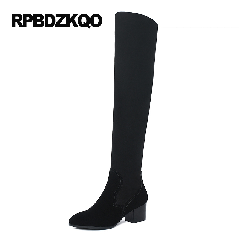 Lycra Shoes High Heel Stretch Over The Knee Fashion Slim Black Fur Sheepskin Genuine Leather Suede Thigh Women Boots Long Chunky choudory black chunky heel vintage thigh high boots suede women winter boots over the knee boots stretch florals printed shoes