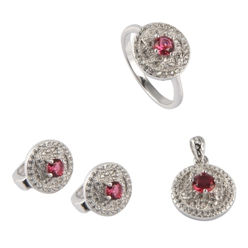SHUNXUNZE boho wedding charm jewelry sets & more for women accessories Red Cubic Zirconia Rhodium Plated R3101set size 6 7 8 9