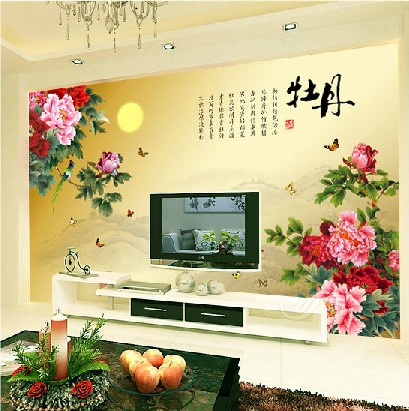 2016 new hot selling custom-made Chinese TV  wall sitting room porch large mural wallpaper 3d peony ink flower and-bird painting 2503art large murals3d can be custom made furniture decorative wallpaper house ornamentation decor wall stickers chinese style
