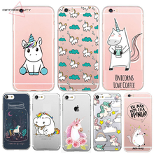 DIFFRBEAUTY Cute Unicorn Cartoon Transparent Ultra Thin Soft Silicone Phone Case Back Cover For iPhone X