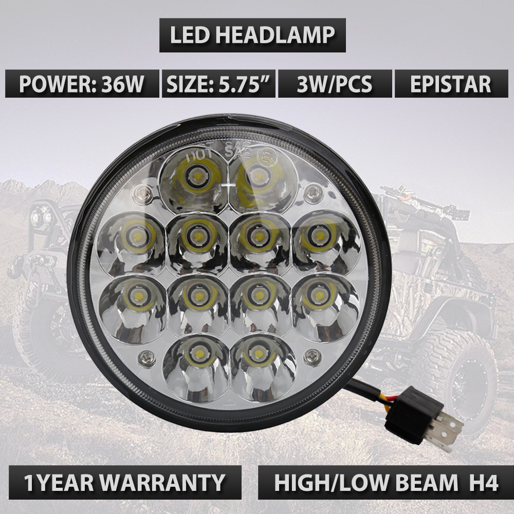 5.75 ROUND H5001/H5006 12V SEALED BEAM HI-POWER 36W EPISTAR LED HEADLIGHTS LAMPS 24V Led Headlight 36W mathable 5006