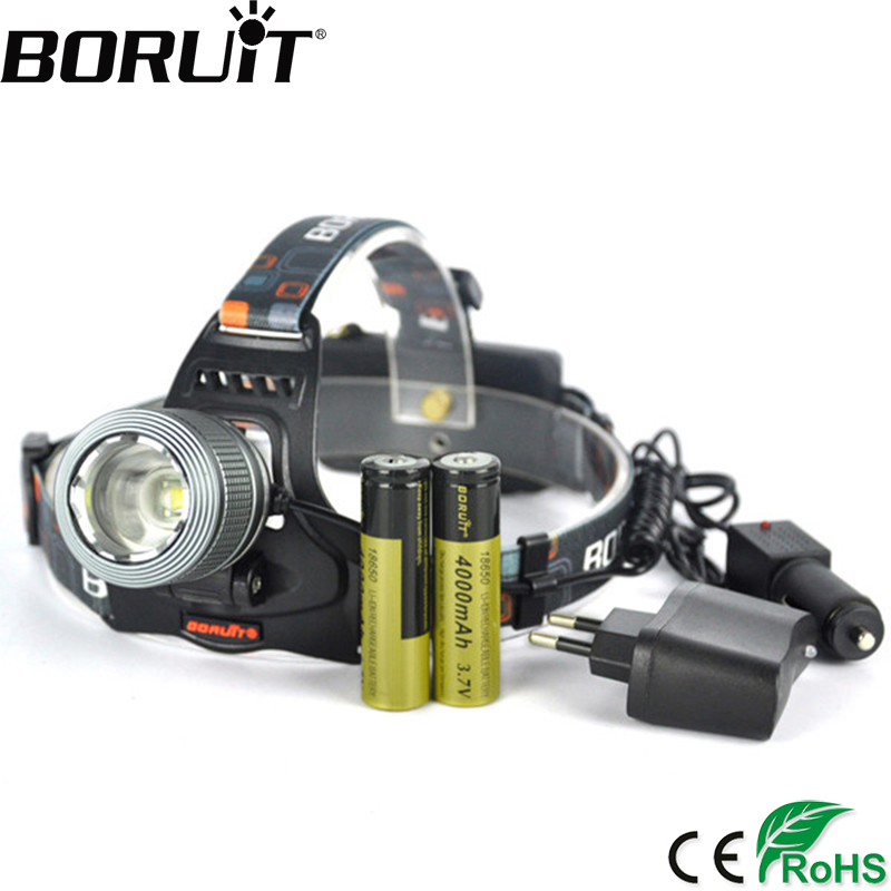 BORUiT 2000LM XML T6 LED Headlight 3-Mode Zoom Headlamp Rechargeable Head Frontal Torch Hunting Camping Lamp by 18650 Battery boruit 10000lm xml t6 chips led headlamp rechargeable zoom headlight hunting camping head light flashlight by 18650 battery