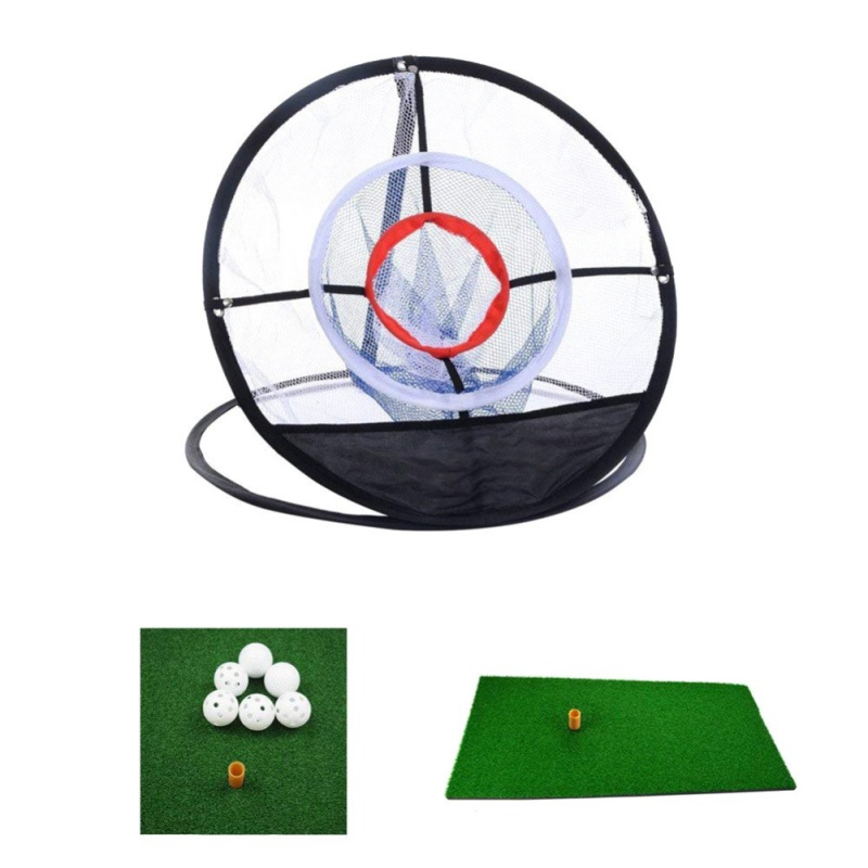 New Golf Indoor Outdoor Chipping Pitching Cages Mats Practice Easy Net Golf Training Golf Aids Metal + Net