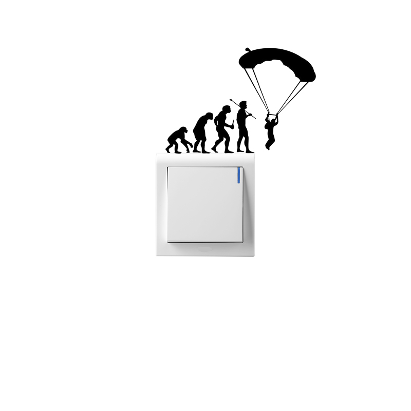 Skydiving Parachute Funny Sport Switch Sticker Vinyl Wall Home Decor Decal 5WS0094