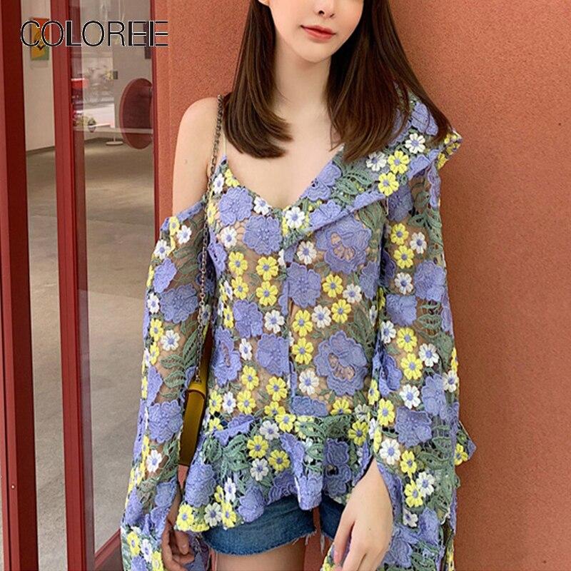 COLOREE Chic haute qualité 2019 femmes Blouse bleu brodé Floral rosée épaule dentelle irrégulière Blouse décontractée