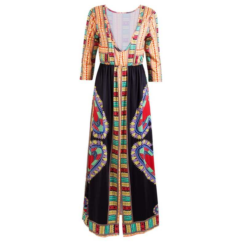 15d56351b9 ... New Women Ladies India National Dresses Floral Print Long Sleeves Boho  Evening Party Long Maxi Sundress ...