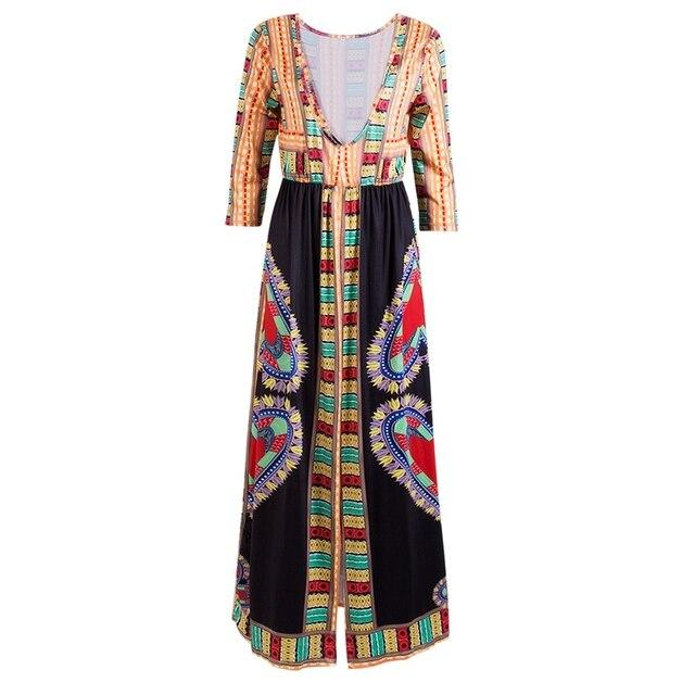 5d751b29d0c Neue Frauen Damen Indien Nationalen Kleider Blumendruck Langen Ärmeln Boho  Abendgesellschaft Lange Maxi Sommerkleid
