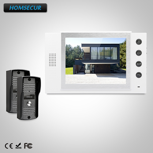 "HOMSECUR 8"" Video Door Entry Phone Call System+Outdoor Monitoring for Apartment  TC031 +TM801-W"