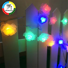 Coversage 20 Leds Solar Rose Flower Light Garland Outdoor Garden Decoration Lights Christmas Holiday Lighting Fairy Lamps Xmas(China)