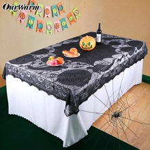 OurWarm 1pc Halloween Table Cloth Party Table Decoration Spider Web Lace Design Rectangle Tablecloth with Ghost Party Decoration ourwarm 1pc halloween table cloth party table decoration spider web lace design rectangle tablecloth with ghost party decoration