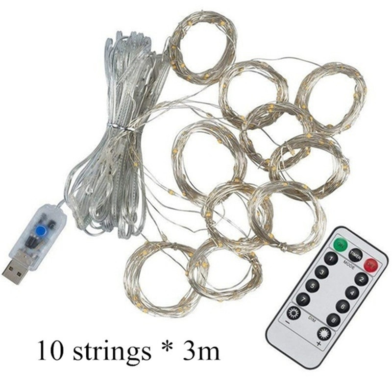 Image 3 - 3Mx3M 300 LED 9 Colors Lights Romantic Christmas Wedding Decoration Outdoor Curtain String Light Remote control 8 modes USB Lamp-in LED String from Lights & Lighting on