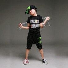 Хип-хоп стиль мальчиков костюм лето спортивный костюм шорты + майка 2 шт. комплект, Детская одежда спорт