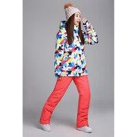 Free Shipping High Quality Waterproof Jacket Ski Suit Set Womens Snowboard Jackets Mountain Ski Suit Women