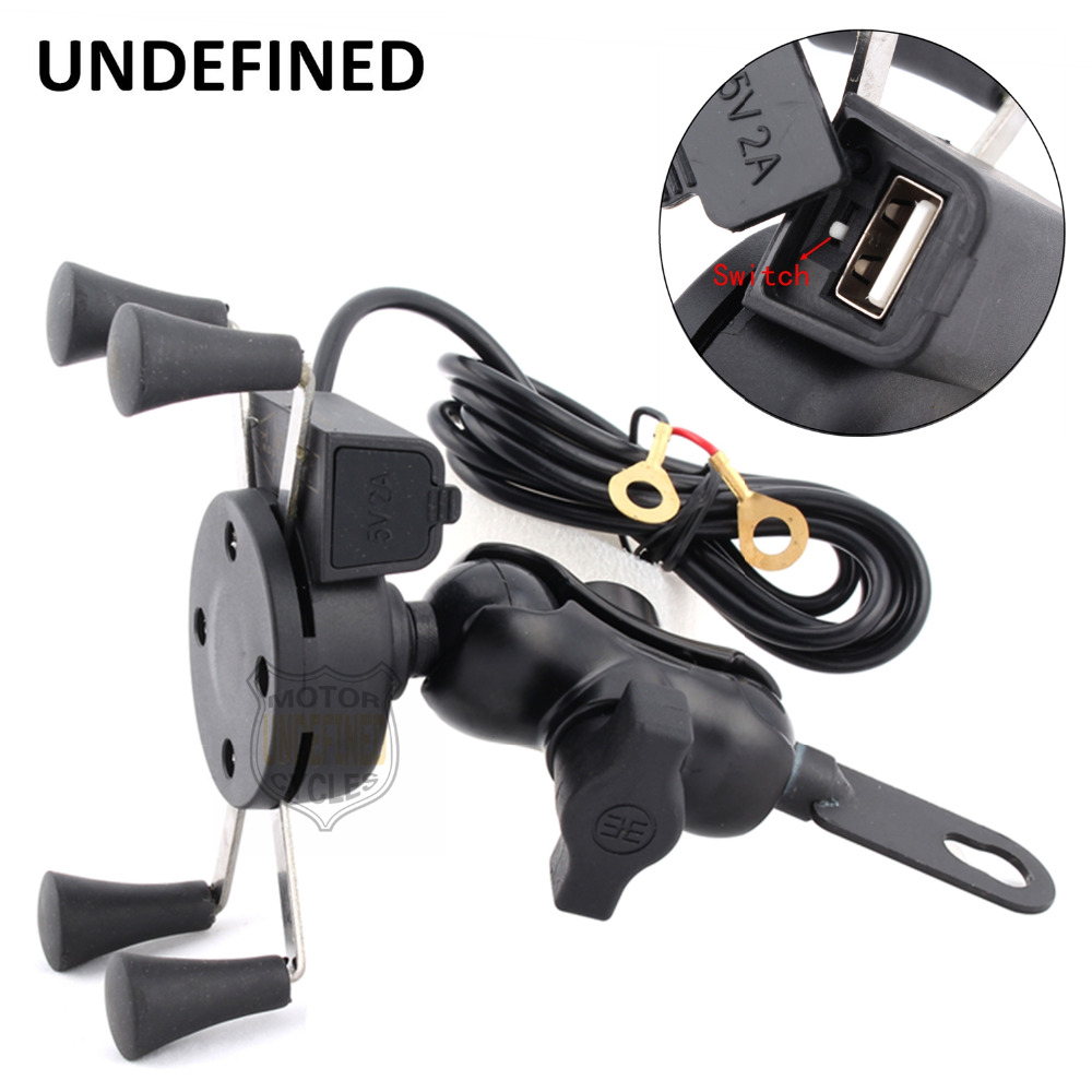 Motorcycle Charger Mirrors X-Grip 3.5-6 Inch Cell Phone Mount Holder USB Charger For BMW Kawasaki Harley Benelli Yamaha Honda