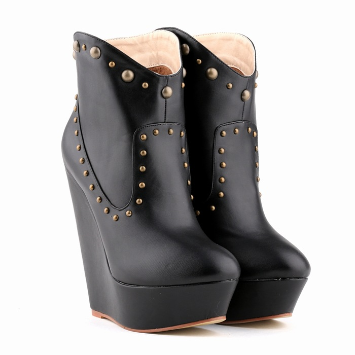 Candy Colors Autumn High Heels Shoes Women Wedges Ankle Boots Heels Platform Single Boots Rivets 14 CM Nightclubs Bota