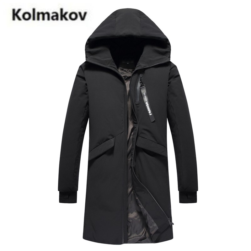 KOLMAKOV 2017 new winter high quality men's long hooded Windproof cuffs down jacket,90% white duck down coats black parkas men.