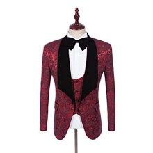 Coat Pant Designs Shawl Lapel Groom Tuxedos Black/White/Red/Blue Men Suits Wedding Best Man Blazer (Jacket+Pants+Vest)