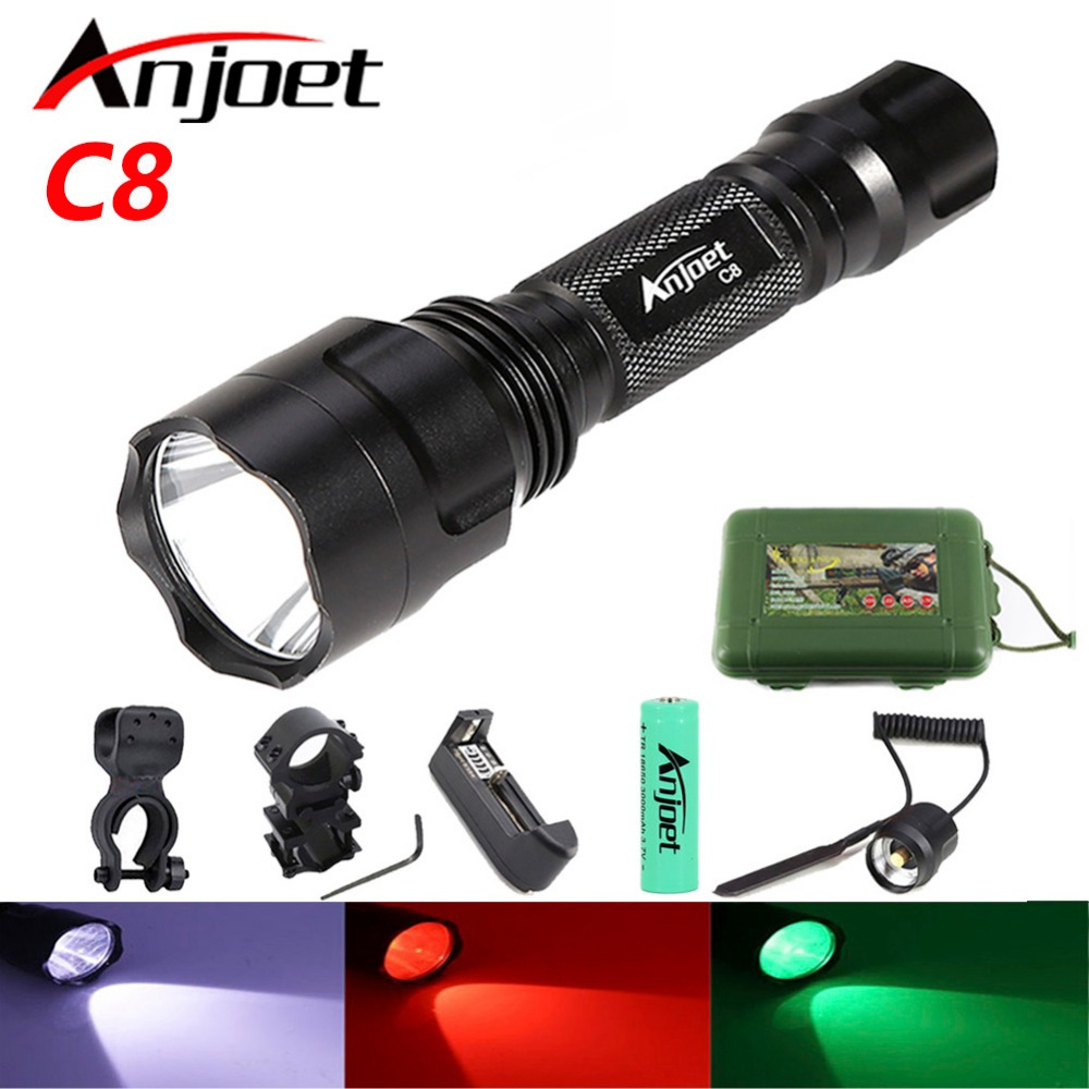 Anjoet C8 CREE XM-L T6 White/Green/Red Led Tactical Flashlight 18650 Battery Aluminum Torch Lamp For High Quality Hunting