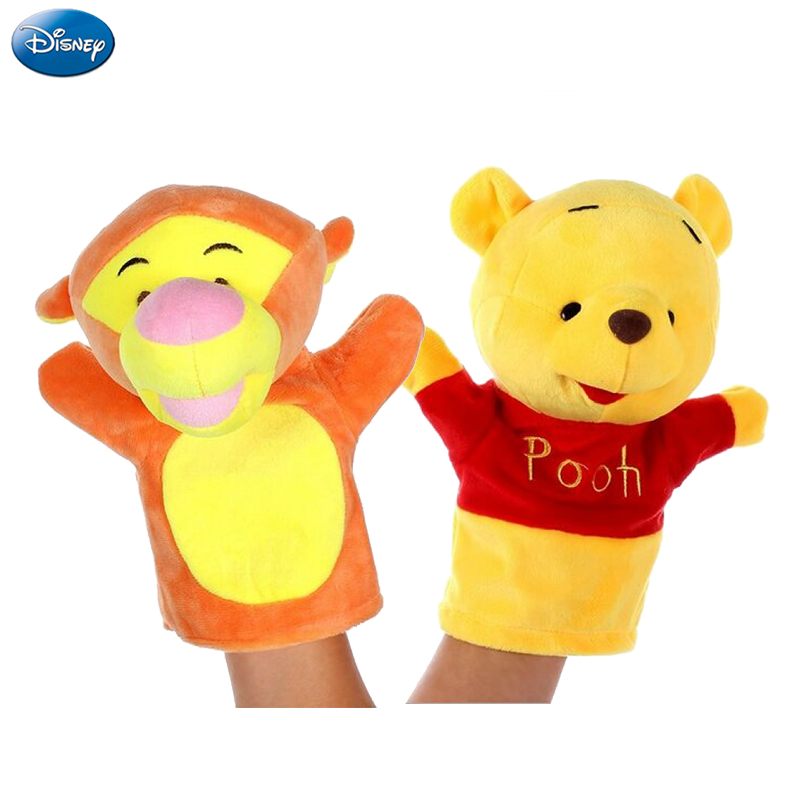 Disney Hand Puppet Plush Toy Mickey Mouse Minnie Winnie the Pooh Donald Duck Piglet Tigger Doll Interactive Birthday Gift Kid