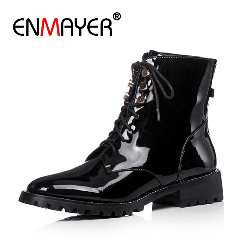 ENMAYER Patent Leather Thick Heel Boot Women Round Toe Lace Up Footwear Rivet Ladies Shoes Autumn Female Motorcycle Bootie CR834 in Ankle Boots from Shoes