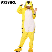 Adult Women Kigurumi Onepiece Animal Yellow Tiger Cosplay Jumpsuit Sleepwear Winter Warm Cute Fantasia Anime Costume