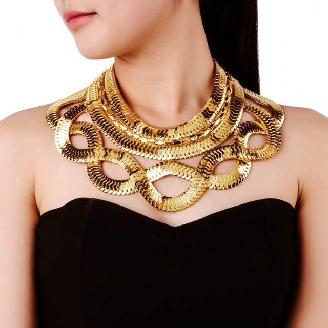 Large jewelry statement gold silver snake chain bib choker punk large jewelry statement gold silver snake chain bib choker punk collar pendant fashion necklace aloadofball Choice Image