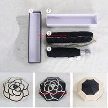 Classique motif Camélia Fleur logo Parapluie Pour Les Femmes 3 Fold De Luxe Parapluie avec Boîte-cadeau Et Sac Pluie Parapluie