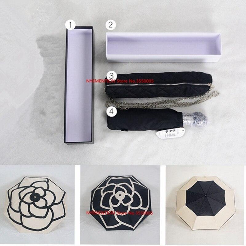 Patrón clásico Camelia flor logo paraguas para las mujeres 3 veces paraguas de lujo con caja de regalo y bolsa lluvia paraguas