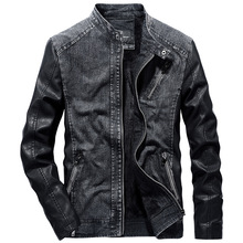 b  Men Patchwork Denim Jacket With Leather Sleeve Coat Warm Windproof Vintage High Quality Mens Jean
