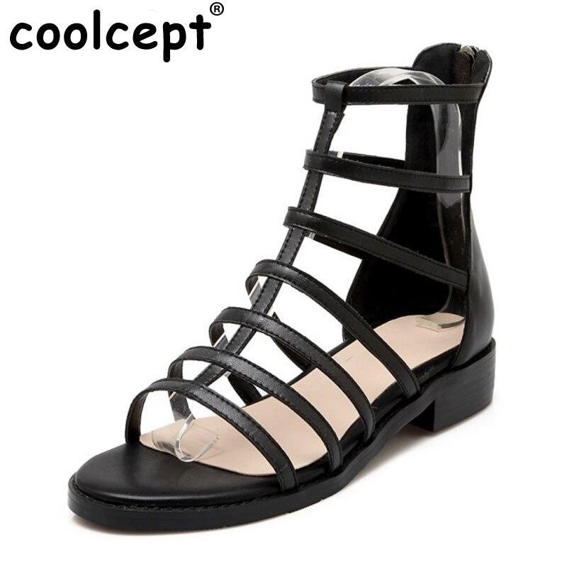Coolcept D'été À Véritable Taille Gladiateur Talon Rivet Club 34 Réel Chaussures Talons Mince Femmes Mode Cuir Noir Sandales 39 Hauts r1WqCr