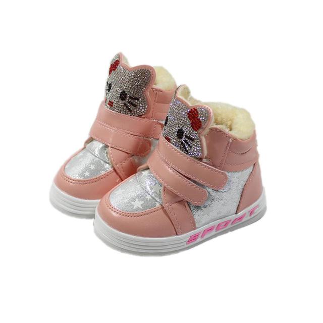 Causal sapatos da menina do bebê bonito dos desenhos animados olá kitty sapatos de Inverno de espessura para 1-6yrs meninas crianças infantil crianças sapatos tênis ao ar livre