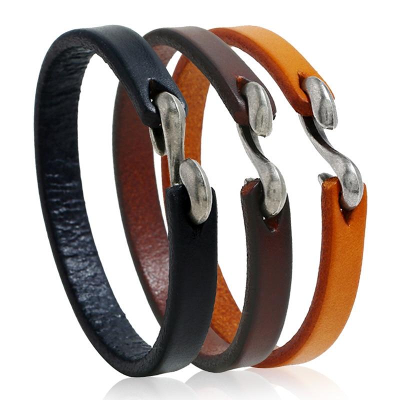 Minimalist Design Genuine Leather Bracelet Bangle for Men Simple Hook Vintage Bracelet Jewelry Office Style Mens Bracelet 2019