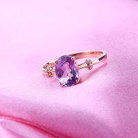 7x9mm Oval Natural Amethyst Diamonds Solid 14k Rose Gold Ring Women Engagement Wedding Ring