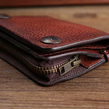 AETOO Retro handmade leather wallet young men multifunctional money clip can put driver\'s license casual short wallet