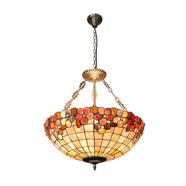 New 22 Lampshade European Stained Gl Lighting Mission 5 Lights Retro Style Shell Inverted Pendant