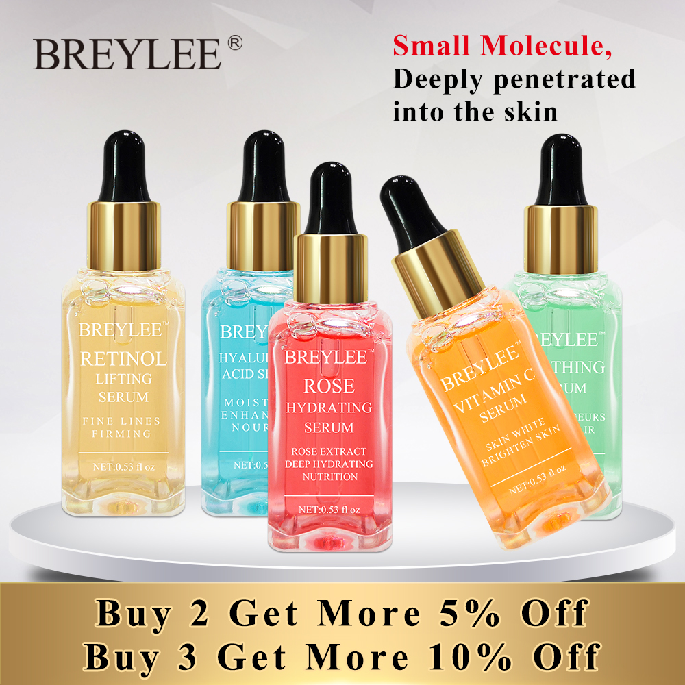 BREYLEE Serum Series Hyaluronic Acid Vitamine C Face Whitening Rose Huidverzorging voeden 24 K goud stevige rustgevende reparatie essentie ...