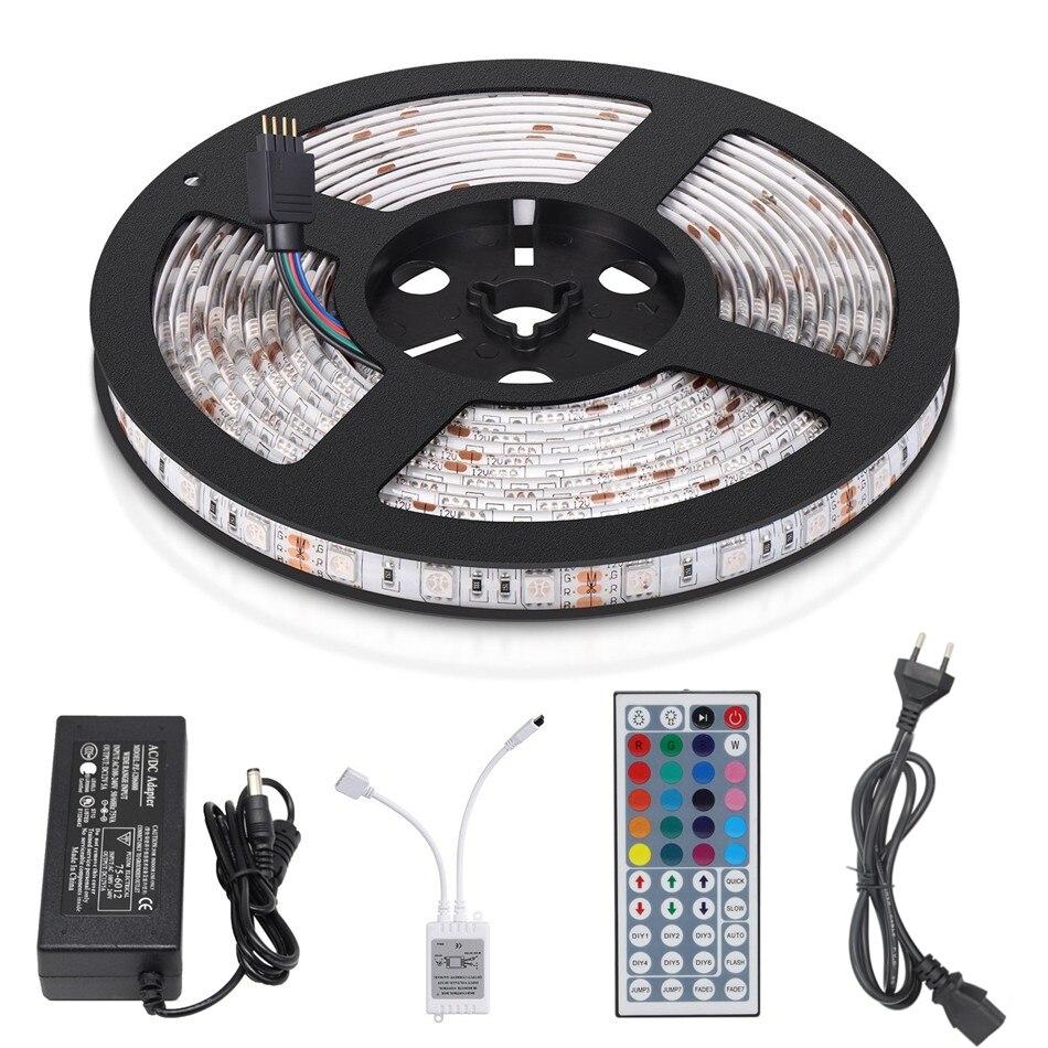5M RGB LED Strip 5050 Waterproof IP65 Fita LED Tape Flexible Neon Bande LED light +44 key IR Remote + DC12V 5A EU Power Adapter 5m rgb led strip 5050 waterproof ip65 fita led tape flexible neon bande led light 44 key ir remote dc12v 5a eu power adapter