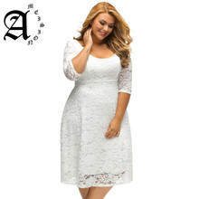Ameision Women Dress 2019 High Quality Floral 3/4 Sleeve A-Line Plus Size Lace Dresses Female Zip Back Round collar Party Dress