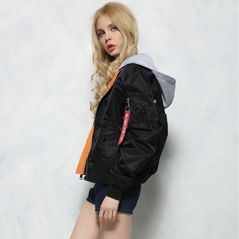 Women Hooded Bomber Jacket Baseball collar Basic Bomber Jacket with hood