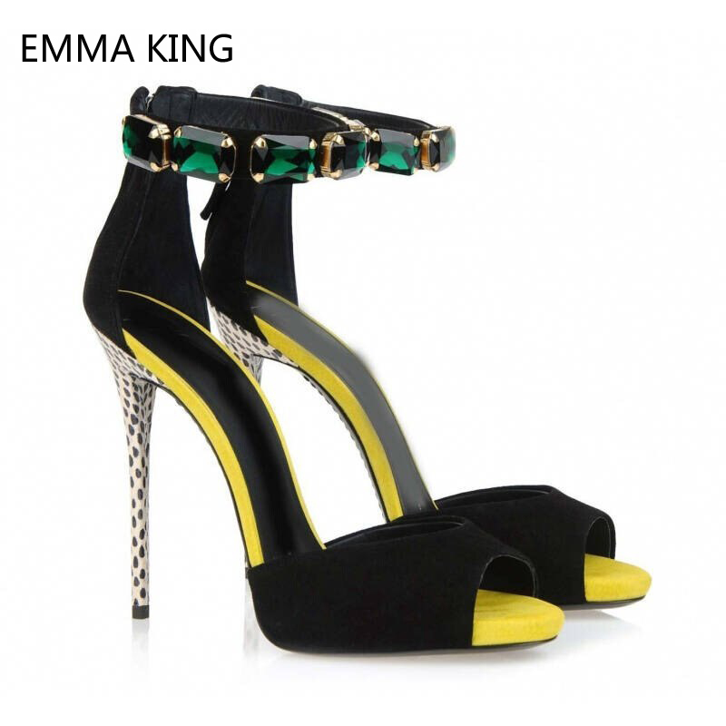 Zip chaussures De Simple Sandales Hauts Décoré Talons Émeraude Nouveau Toe Haute Picture Peep Mujer Feminina Para Verano À Mince Sandalia Femmes As SOnxga