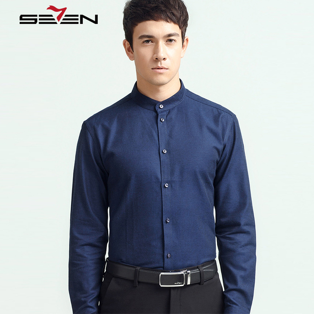 8f515e0eec8 Seven7 Brand New Arrival Fashion Business Shirts Men s High Quality Mandarin  Collar Shirts Classic Comfort Men s Shirt 112A39030