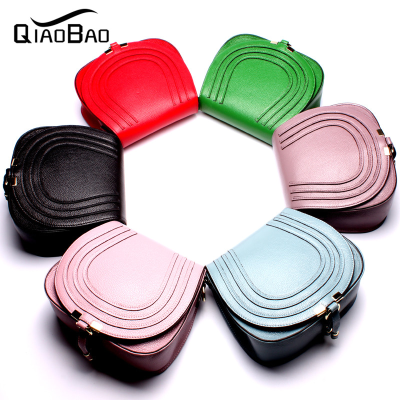 ФОТО QIAO BAO 100% Genuine Leather Bags Women Real Cow Leather Handbag Ladies Shoulder Crossbody Bag NEWEST Design