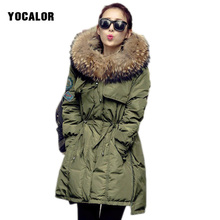 Фотография 2017 Women Parka Basic Jackets Raccoon Real Fur Collar Female Winter Coat Women Parkas Free Shipping Hood Warm Duck Green