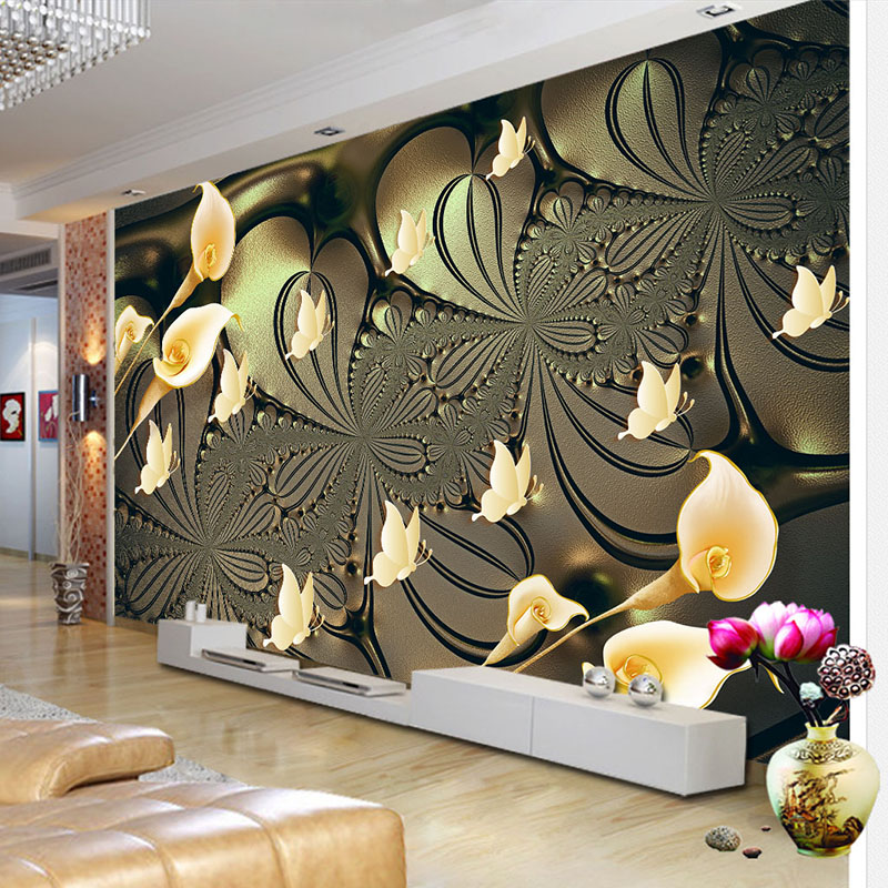 Custom Mural Wallpaper For Bedroom Walls 3D Embossed Lily Flower Butterfly Background Wall Papers Home Decor Living Room Modern simple striped lines modern wall papers home decor wallpaper for living room bedroom tv sofa background wallpaper for walls 3 d