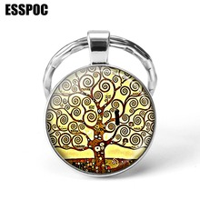 Gustav Klimt Art Tree Painting Silver Key Chain Rings Holder of Life Pendant Keychain Men Women Fashion Christmas Gifts