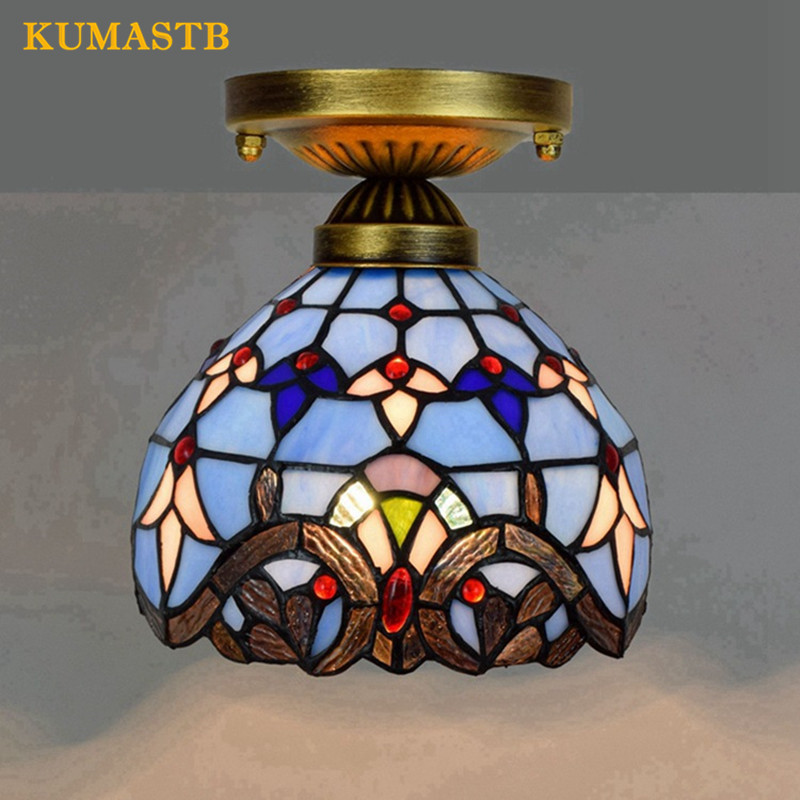 8 Inch Tiffany Stained Glass Ceilign Lamp Aisle Corridor Balcony Small LED Ceiling Light Blue Baroque LED Lampe