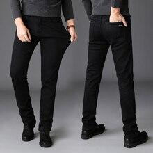 a74b5a7dbd Pantalones vaqueros de invierno de moda de Color negro para hombre  Pantalones vaqueros gruesos cálidos elásticos